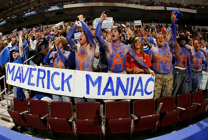 Texas-Arlington fans (a.k.a. -- the Maverick Maniacs) cheer on their team during its first-round matchup against Memphis.