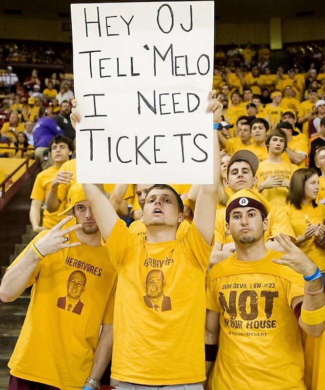 A Sun Devil pokes fun at O.J. Mayo, who was almost suspended earlier this season for accepting Carmelo Anthony's free tickets to a Nuggets game.