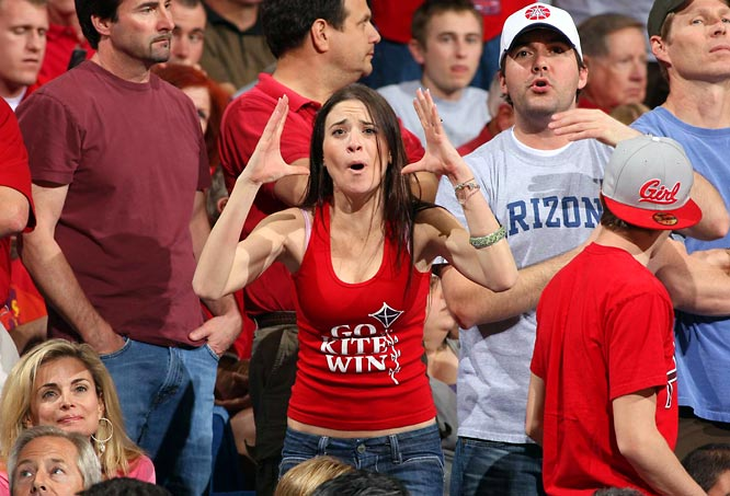 An Arizona fan shows her frustration after the Wildcats fell to UCLA, 68-66.