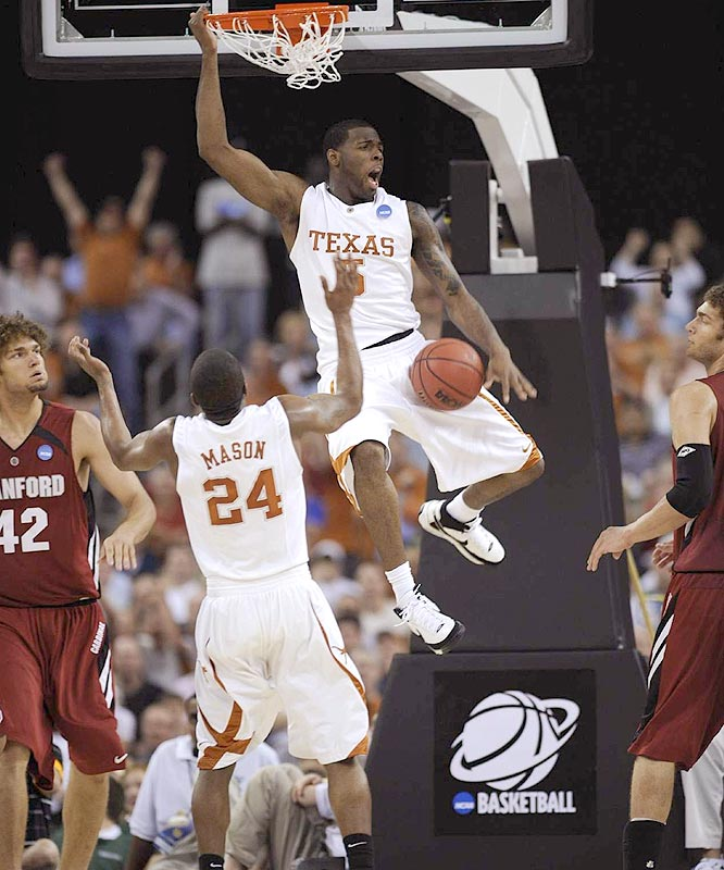 Damion James delivered 18 points as the Longhorns took a step closer to their first Final Four appearance since 2003.