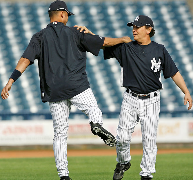 "A lifelong Yankee fan, Billy Crystal (pictured here with Derek Jeter) saw his dream come true when he signed a one-day contract with the Yankees to play in a spring-training game against Pittsburgh on March 13. In his only at-bat, the self-described ""Designated Hebrew"" batted lead-off  and struck out on a full count."
