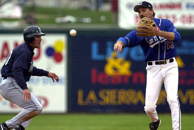 In 2002, Kevin Costner appeared in a spring-training game for the Seattle Mariners' Class-A affiliate, the San Bernardino Stampede. The star of <i>Bull Durham</i> got the start at shortstop but was moved to pitcher where he faced then Mariners manager Lou Piniella. Costner walked him on four pitches.