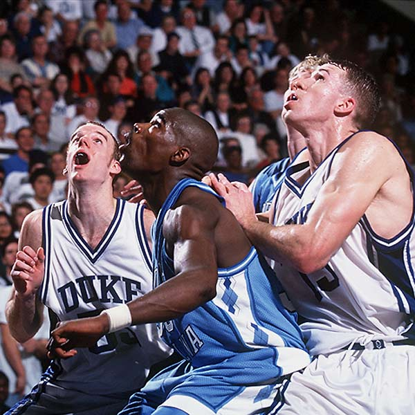 The most hyped game in the history of the rivalry, bigger even than their only other 1-2 matchup four years earlier. A Carolina team led by Antawn Jamison and Vince Carter smokes the Blue Devils.