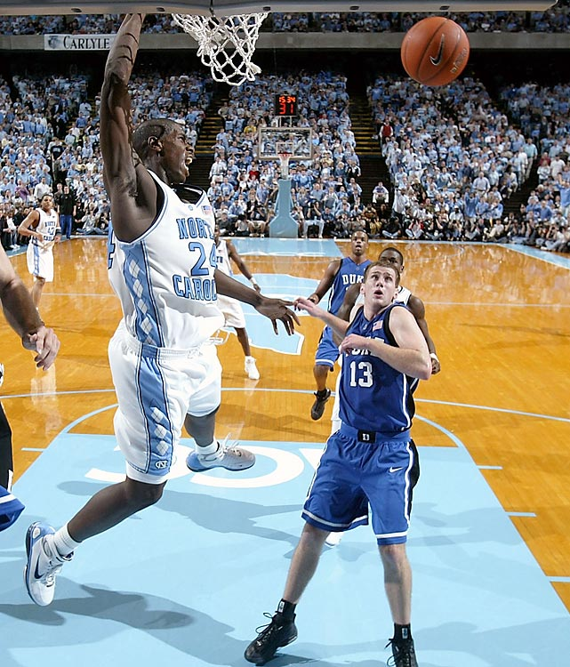 A three-point play with 17 seconds remaining by UNC freshman Marvin Williams caps a game-ending 11-0 run by the Tar Heels, who had trailed by 9 with three minutes to go. Duke's J.J. Redick and Daniel Ewing miss shots on the other end as Carolina claims its first outright ACC regular season title since 1993.