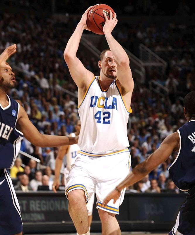 Freshman Kevin Love had 19 points, 10 rebounds, four assists and two blocks in being named as the most outstanding player of the West Regional.