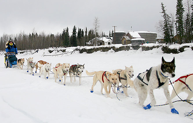 Clint Warnke and his dogs pass the Kuskokwim River and the McGrath, Alaska checkpoint on March 5.