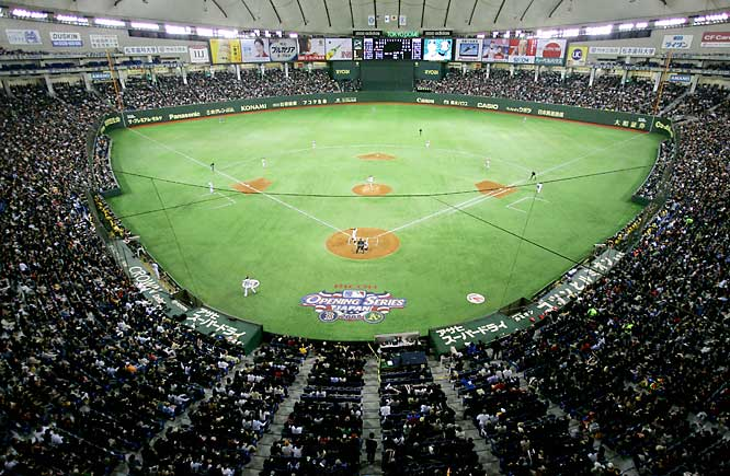 A crowd of 44,628 cheered inside the Tokyo Dome, which hosted baseball's opener for the third time in nine years.