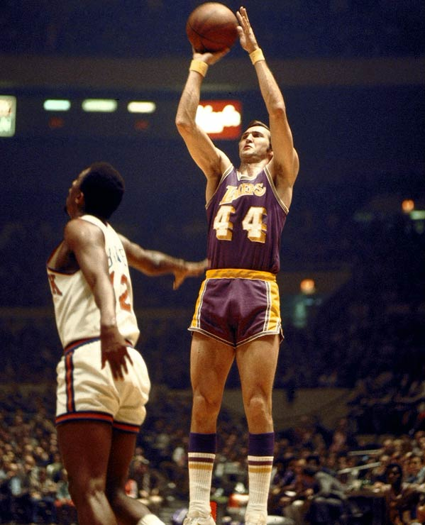 Led by Wilt Chamberlain, Jerry West (pictured) and Gail Goodrich, the Lakers' NBA-record streak started on Nov. 5 and ended with a loss to the Bucks on Jan. 9. The Lakers finished 69-13 in their championship season, the league's best regular-season record until the 1995-96 Bulls went 72-10.