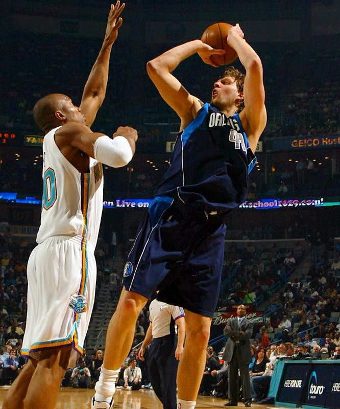 Nowitzki shot a career-high 41.6 percent from long distance during his MVP 2006-07 season, but he's slumped to below 35 percent this season. In 2006, the 7-footer became the tallest player to win the Three-Point Shootout.