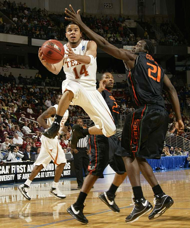 D.J. Augustin chipped in 12 points and eight assists as the second-seeded Longhorns held off a late rally from the seventh-seeded Hurricanes.