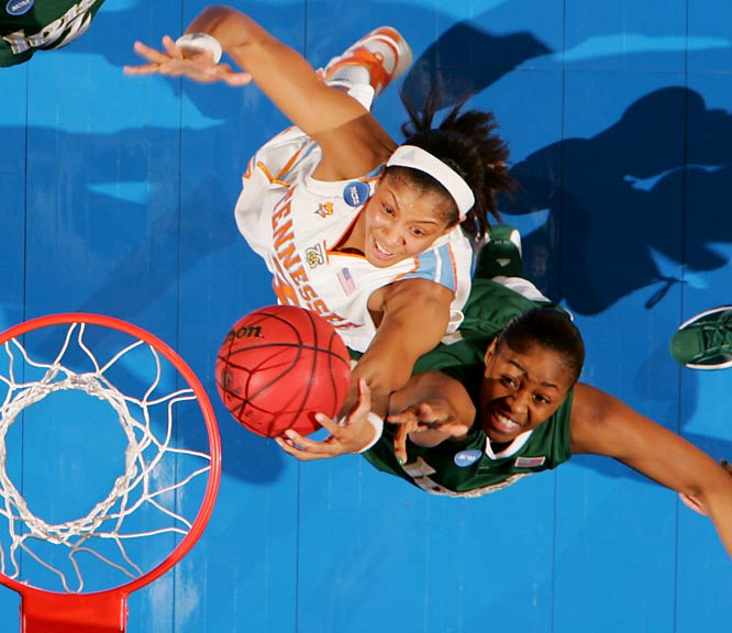 Candace Parker matched a career best with 34 points and had 13 rebounds to lead Tennessee to an eighth consecutive appearance in the Elite Eight.