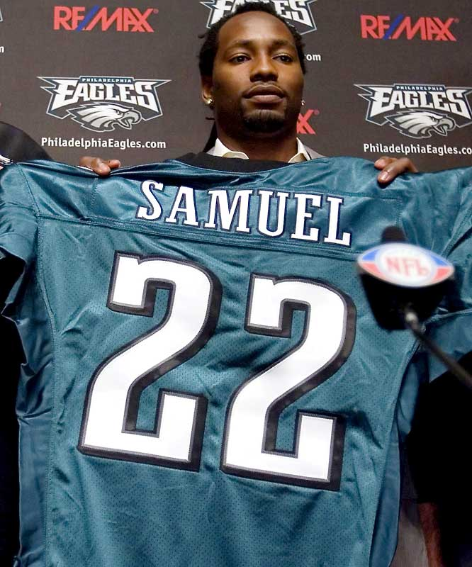 Philadelphia landed what many consider the prize of free agency by throwing $57 million over six years to the former Patriots cornerback. Samuel, 27, had an NFL-best 16 interceptions over the past two seasons. In the Eagles' blitz-heavy schemes, Samuel's one-on-one cover skills will be a nice security blanket.<br><br>Send comments to siwriters@simail.com