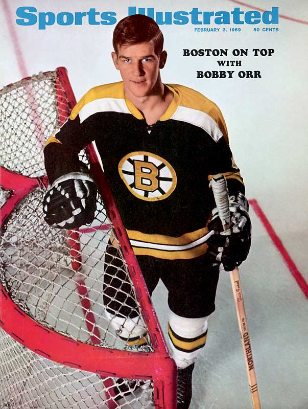 A swift, almost effortless skater and brilliant playmaker, Orr began revolutionizing the game by posting offensive numbers unprecedented for a backliner. He won two scoring titles and had six consecutive 100-point seasons (1969-75), including the first by a defenseman.