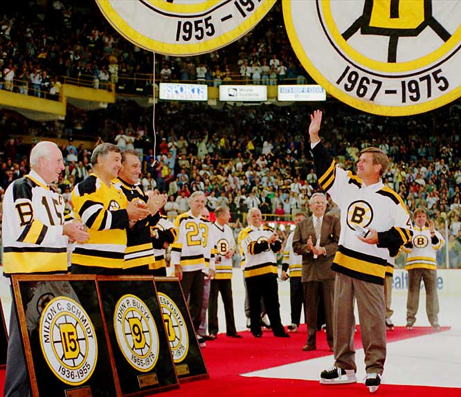 With the mandatory three-year waiting period waived, Orr was enshrined in the Hockey of Hall of Fame in 1979, the youngest player ever inducted. In 1995, he was reunited with former Bruins Milt Schmidt, John Bucyk and Phil Esposito at a farewell ceremony for the old Boston Garden.