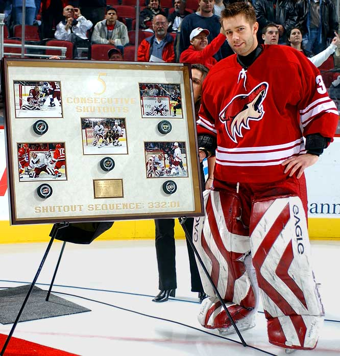 Backstopping the Phoenix Coyotes in 2003-04, Boucher got desert-hot and recorded five consecutive shutouts spanning a modern-record 332 minutes, 1 second. The all-time mark of 461.29 was set by Ottawa's Alec Connell in 1927-28, when forward passing in attacking zones was not allowed.