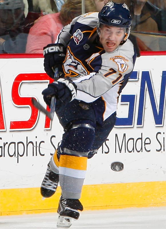 The 29-year old winger is white hot, riding a streak of points in 27 of his last 29 games and establishing a career high with 25 goals. Not coincidentally the Predators have hung around to contend for the West's final playoff berth.