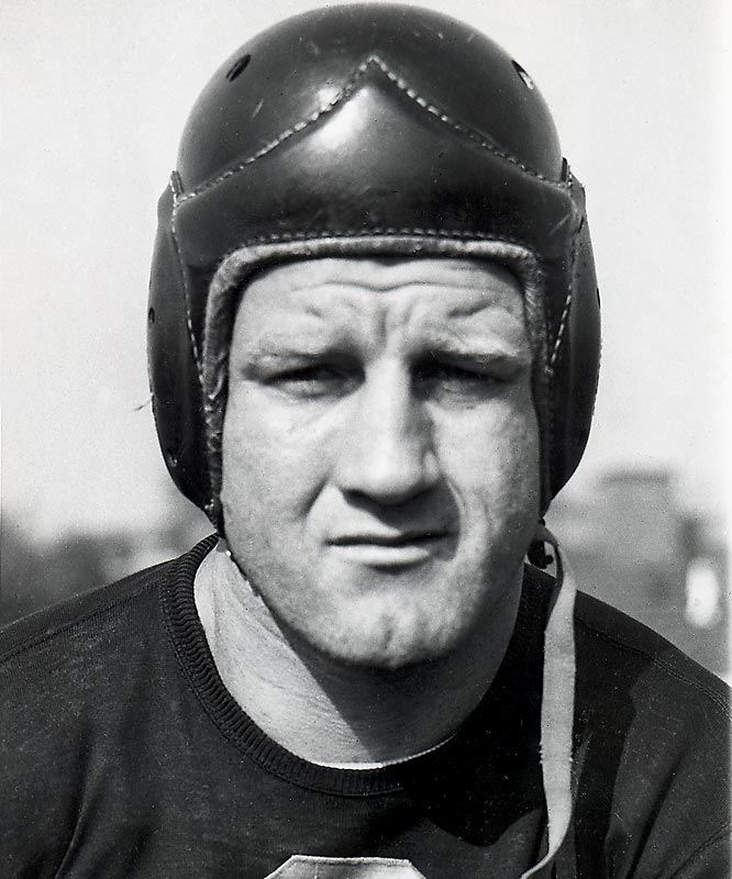 One of the largest players of his era, he served as a model for future bruising backs like Jim Brown, Larry Czonka and John Riggins. The brawny Canadian native enjoyed a second career as a pro wrestler following his retirement, winning the world heavyweight championship three times. Nagurski was the fullback on the NFL's 75th Anniversary All-Time Team.