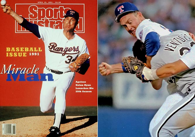 The only pitcher in history to face Roger Maris, Mark McGwire and Sammy Sosa, Ryan's incredible longevity -- he pitched a record 27 seasons -- punched the Texas native's Hall of Fame ticket on the first ballot. The right-hander played the part of ornery old man to perfection in a memorable 1993 on-mound fight with Robin Ventura, an opponent 20 years his junior: Ryan placed the charging Ventura in a headlock and landed six punishing blows to the head before other players could intervene.