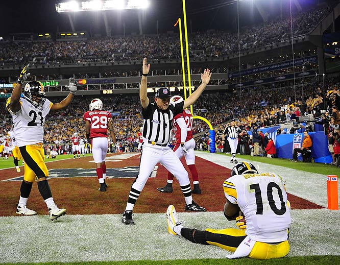 After watching Larry Fitzgerald score on a 64-yard touchdown to give Arizona a 23-20 lead, the Steelers responded with a two-minute, game-winning drive, capped by a Ben Roethlisberger pass to Santonio Holmes.