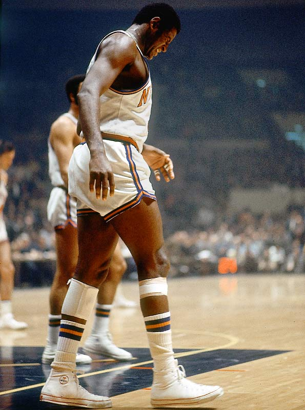 After hobbling off the court early in Game 5 with a torn thigh muscle, Willis Reed made a surprising and triumphant return moments before tip-off for the series' deciding game. Buoyed by his presence -- and his scoring the first two baskets of the game -- the Knicks won the title behind Walt Frazier's 36 points and 9 assists.
