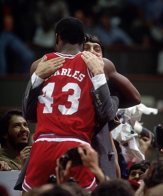 When the Wolfpack's Lorenzo Charles caught Derrick Whittenburg's air ball and put it in for an easy score, fans in attendance may have thought the sky was falling. Jim Valvano's team pulled an all-time upset in rushing the heavily-favored Phi Slamma Jamma out the championship door.