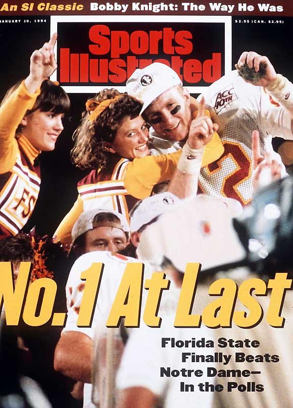 With Heisman Trophy winner Charlie Ward at the helm, Florida State entered this matchup as a 17 1/2-point favorite. Tommie Frazier put the Huskers in position to attempt a 45-yard field goal, but Byron Bennett missed wide left. The win gave Bobby Bowden his first national title.