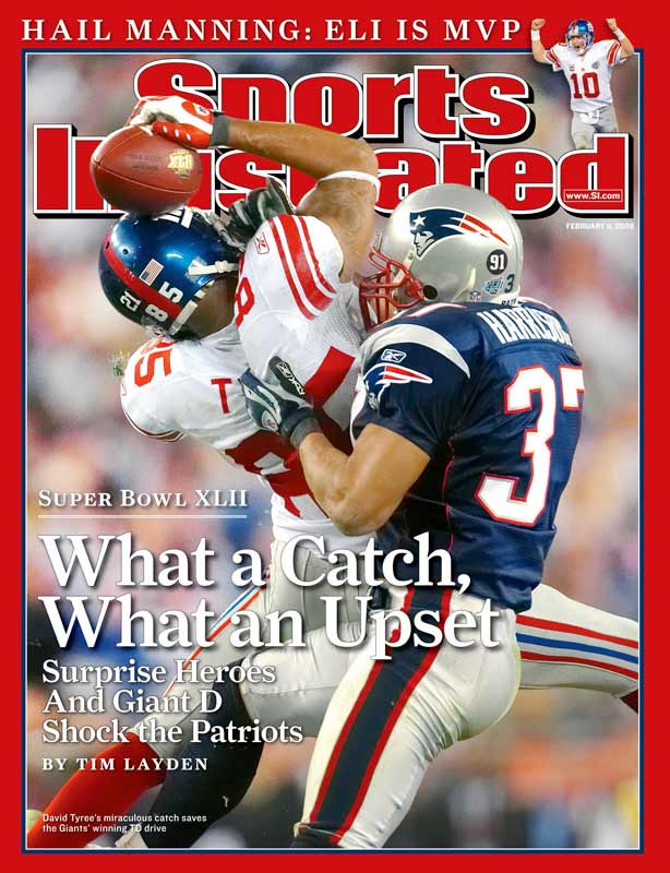 An improbable catch by David Tyree and a late game, do-or-die march down the field by Eli Manning carried the Giants past the previously unbeaten New England Patriots to capture Super Bowl XLII.