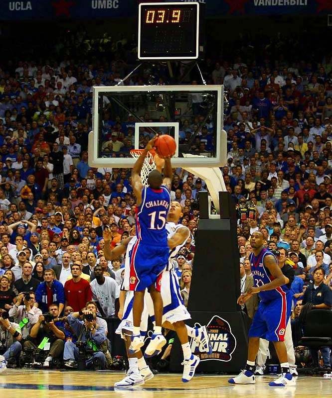 Down nine points with 2:12 remaining and thought to be done, the Jayhawks tied the game and sent it to overtime when Mario Chalmers nailed a three-pointer with less than three seconds left. Kansas eventually won in overtime, 75-68. <br><br>Which game would you add to the list? Send comments to siwriters@simail.com.