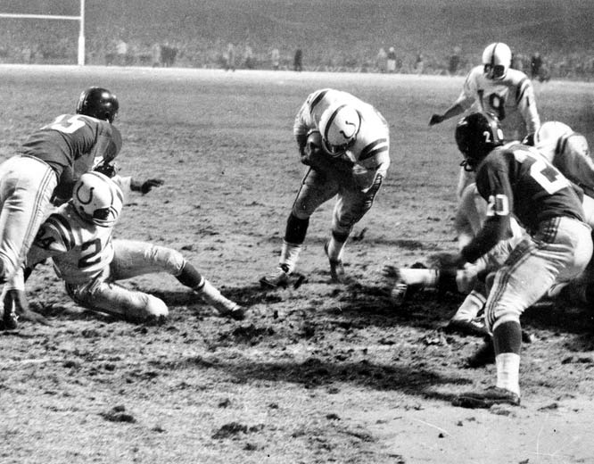 "Known as the ""Greatest Game Ever Played,"" the championship game between Baltimore and the New York Giants was a see-saw battle that saw the Giants take the lead in the fourth quarter only to fall as the Johnny Unitas-led Colts tied it in the last seconds and won on their first possession in overtime."