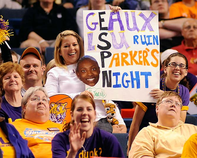 Fans of the LSU Lady Tigers cheer on their team during its semifinal loss to Tennessee.
