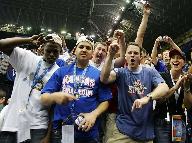 Kansas fans celebrate after the Jayhawks' national championship victory.