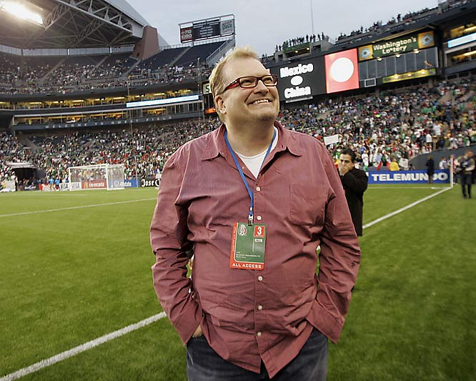 Celebrities don't just show up to NBA games. Price is Right host Drew Carey attended an exhibition soccer match between China and Mexico on Wednesday.