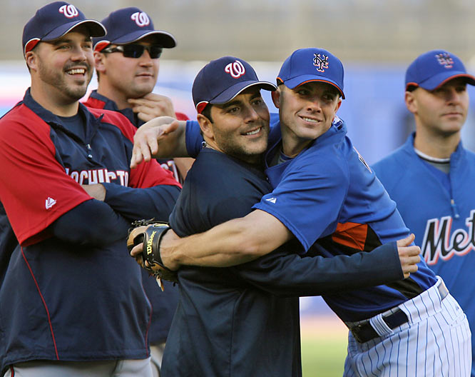 On Tuesday he showed he's not comfortable hugging other men, when he was reunited with former teammate Paul Lo Duca.