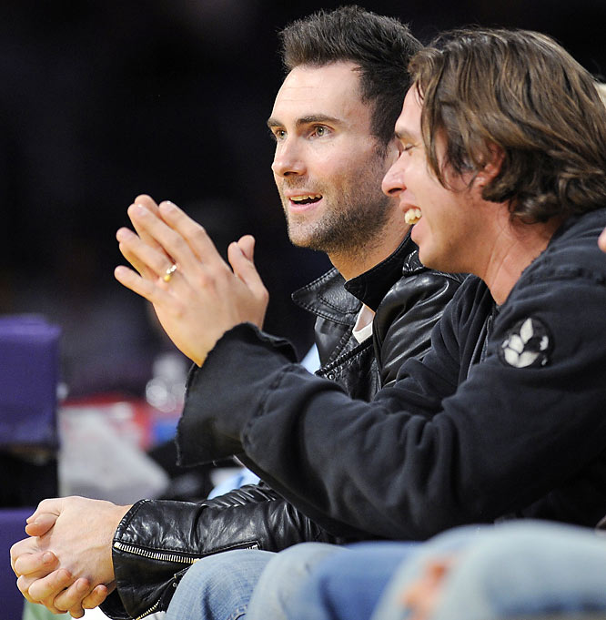 Maroon 5 lead singer Adam Levine takes a break from hooking up with Hollywood's biggest starlets to take in this past Tuesday's Kings-Lakers game.