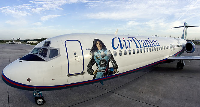 "AirTran Airways commemorated Danica Patrick's win at Sunday's Indy Japan 300 with a Boeing 717 aircraft, dubbed ""AirTranica Won."""