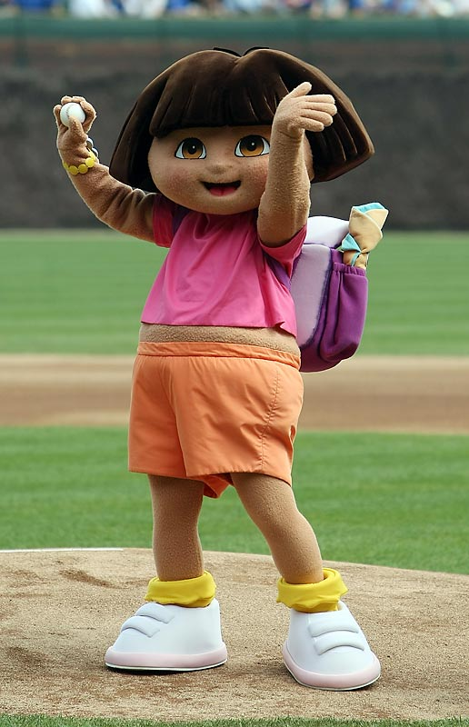 Here's a 180 for you. Last Friday Marisa Miller threw out he first pitch at Wrigley Field. The following day Dora the Explorer did the honors.