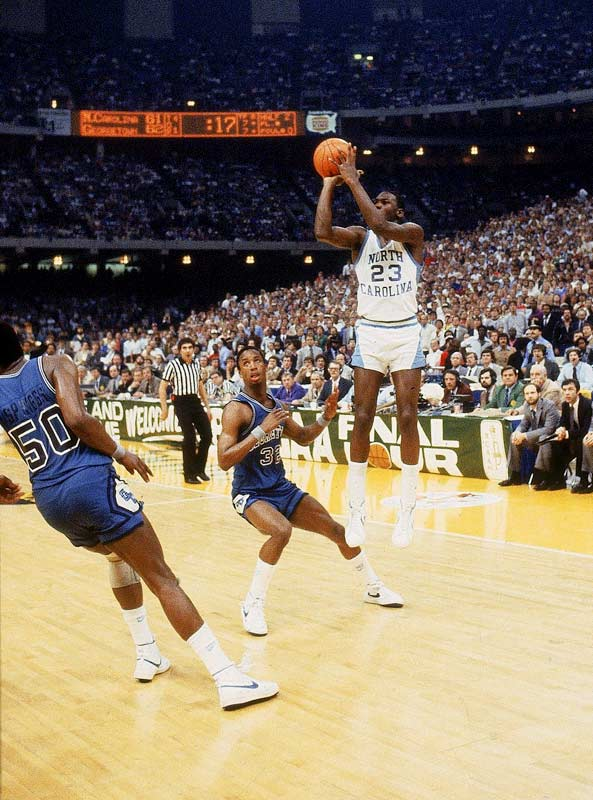 With a cast chock full of future NBA legends, the Tar Heels won their second NCAA title (Dean Smith's first) and handed Patrick Ewing and the Hoyas a heart-wrenching loss. Michael Jordan hit the game-winning jumper with just 17 seconds remaining. Georgetown tried to get a shot off in the final second, but a botched play put James Worthy on the foul line with no timeouts remaining for the Hoyas. Worthy missed his shots, but the game was over.