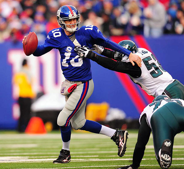 """The Giants led the Dec. 19 regular-season game 24-3 at the half and 31-10 after a field goal with 8:23 remaining in the fourth quarter. From there, Philadelphia scored 28 consecutive points, in this order: Michael Vick threw a 65-yard TD pass to Brent Celek with 7:43 to go; Vick, after a successful onside kick, scored on a 4-yard run at the 5:32 mark; Vick hit Jeremy Maclin for a 13-yarder to tie it with 1:24 to play; and, on the last play from scrimmage, DeSean Jackson first fumbled a Matt Dodge punt and then returned it 65 yards for the game-winner. """"I've never been around anything like this in my life,"""" Giants coach Tom Coughlin said afterward. """"It's about as empty as you can feel in this business."""""""
