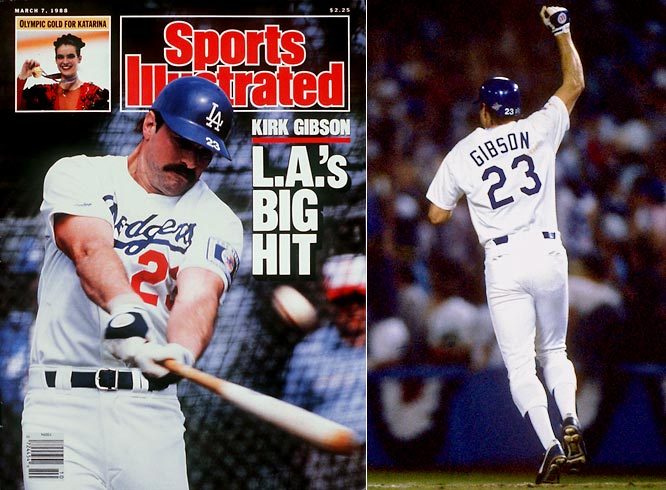 Famed for his two-out, two-run homer (left) off A's closer Dennis Eckersley to win Game 1 of the 1988 World Series, Gibson stole 284 bases and scored 985 runs during a 17-year standout career.<br><br>Runner-up: Ryne Sandberg<br><br>Worthy of consideration: <br>Willie Horton, Don Mattingly and <br> Bobby Thomson (Giants)
