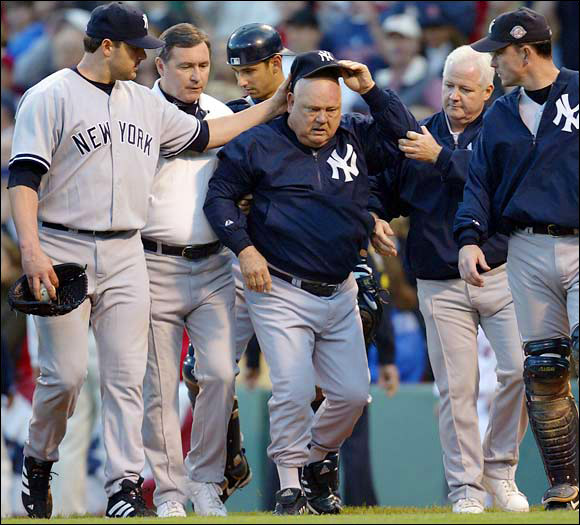During Game 3 of the ALCS, Yankees bench coach Don Zimmer rushed Red Sox ace Pedro Martinez during a brawl and was tossed unceremoniously on his face.
