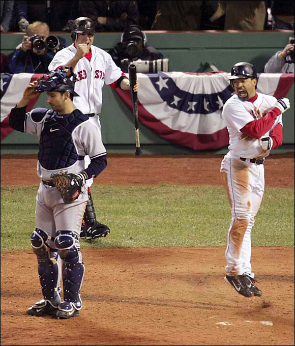 Down 3-0 in the ALCS and down 4-3 in the ninth inning of Game 4, Dave Roberts stole second base and Bill Mueller knocked him in against vaunted closer Mariano Rivera. In the 12th inning, David Ortiz won the game, 6-4, with a walkoff home run. The game lasted longer than five hours.