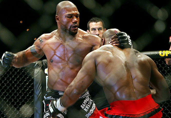 An oft-seen picture: Jackson en route to another victory. Eastman was his knockout victim in UFC 67: All or Nothing in February 2007.