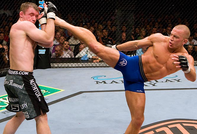 St. Pierre, right, claimed the interim welterweight belt after defeating Matt Hughes by second-round submission at UFC 79 last year, but it wasn't enough for the French-Canadian. He wouldn't be satisfied until his next fight, where he would capture Serra's real welterweight belt at UFC 83.