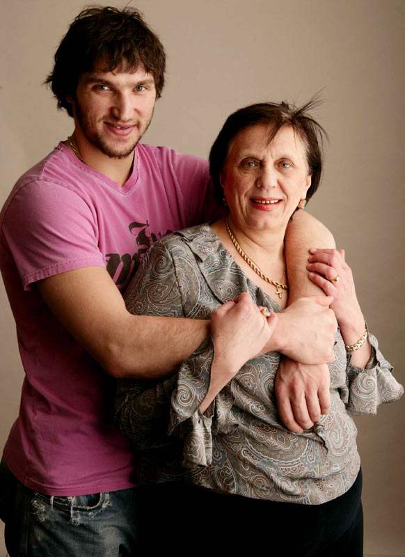Washington Capitals star Alexander Ovechkin poses with his mother, Tatiana Ovechkina, a two-time Olympic gold-medalist basketball player for the Soviet Union during the 1976 and 1980 Games.