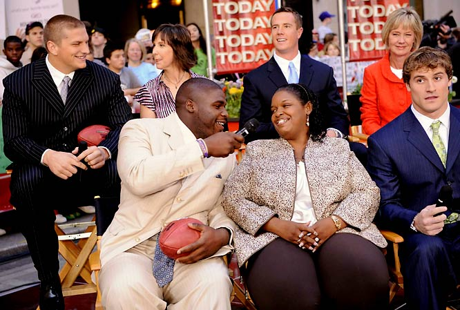 The No. 5 pick, overall, in this year's NFL Draft, Glen Dorsey, shares the spotlight with his mother, Sandra, while appearing on NBC's <i>Today Show</i>. Fellow NFL rookies-to-be Jake Long (behind Dorsey, far left) and Matt Ryan are also seen with their mothers during their pre-Draft airing.