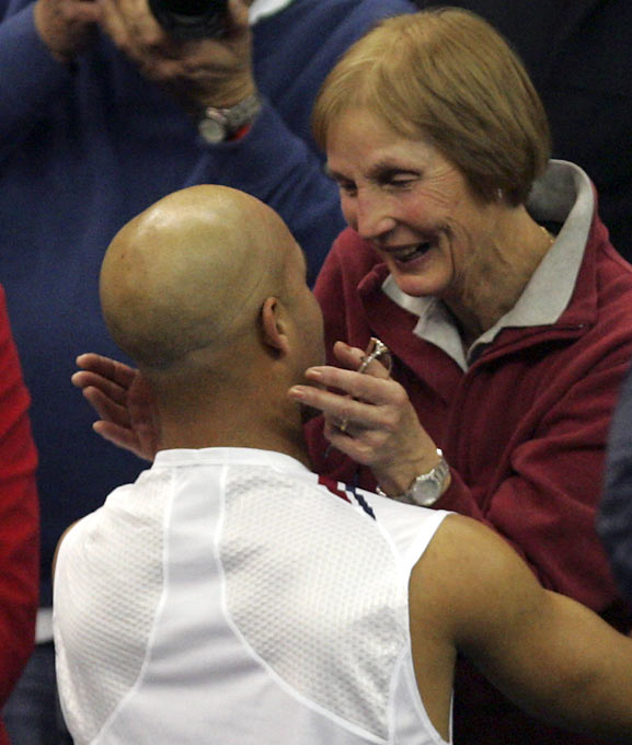 James Blake celebrates with his mother, Betty Blake, after he beat Mikhail Youzhny at the Davis Cup Final last year.