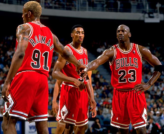 <i>1995-96</i>: 72-10 <br><i>1994-95</i>: 47-35 (25 more wins)<br><br>Michael Jordan, in his first full season back from retirement, joined with Scottie Pippen and newly-acquired Dennis Rodman (whom GM Jerry Krause had stolen in an October trade with the Spurs for Will Perdue) to create a team for the ages. The Bulls went on to shatter the NBA record for best single season ever and claimed the fourth of their six NBA titles in the `90s.