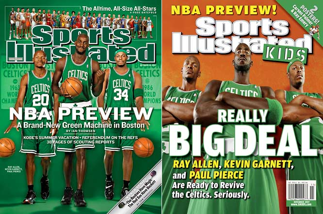 <i>2006-07</i>: 24-58 <br><i>2007-08</i>: 66-16 (42 more wins)<br><br>After losing out in the draft lottery for a chance to select Greg Oden or Kevin Durant (despite having had the second-most Ping Pong balls), Boston fans were cursing their rotten luck again.  But in separate blockbuster trades, Danny Ainge acquired Ray Allen (Sonics) and Kevin Garnett (Timberwolves) to pair with holdover star Paul Pierce. The Celtics went on to obliterate the NBA record for the biggest turnaround single-season turnaround -- and win the franchise's 17th championship.