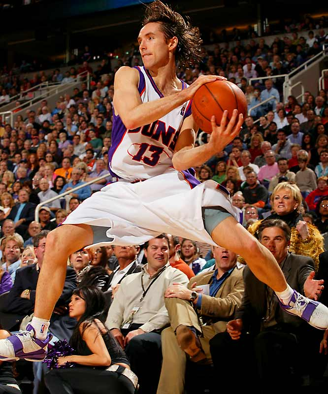 <i>2003-04</i>: 29-53 <br><i>2004-05</i>: 62-20 (33 more wins)<br><br>The arrival of free agent point guard Steve Nash (Mavs), along with rising stars Amare Stoudemire and Shawn Marion, as well as coach Mike D'Antoni's revolutionary offense, enabled the Suns to rise up from the ashes like, well, a Phoenix.