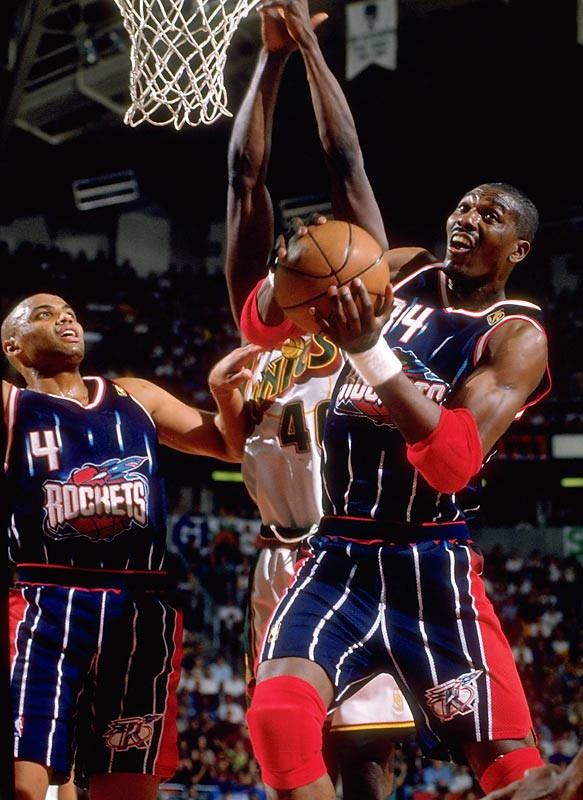 After Seattle ended Houston's bid for a three-peat during the 1996 NBA Playoffs, the Rockets stormed out of the gate with a 21-2 start during the '96-97 season. Olajuwon led the way with averages of 23.2 points, 9.2 rebounds and 2.2 blocks and Houston finished with 57 wins -- but John Stockton's three-pointer to clinch the Western Conference Finals marked the end of Clutch City's contending years.